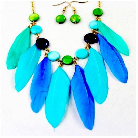 Fashion Feather Necklace (with Earrings)