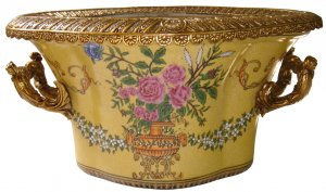 YELLOW PORCELAIN FLOWER POT W/ BIRDS SHAPED BRASS