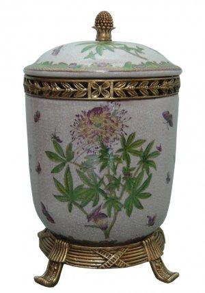 PORCELAIN FLORAL JAR W/ LID AND ANTIQUE LOOK BRASS