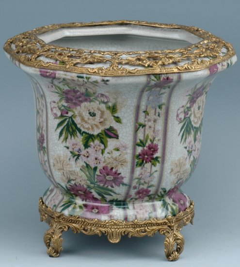 FLORAL PORCELAIN BOWL ACCENTED WITH ANTIQUE BRASS