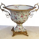 PORCELAIN HAND PAINTED BOWL WITH ANTIQUE SOLID BRASS AND BRONZE