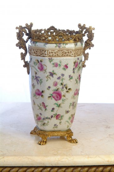 PORCELAIN VASE WITH BRASS TRIM, ANTIQUE STYLE,  HAND PAINTED