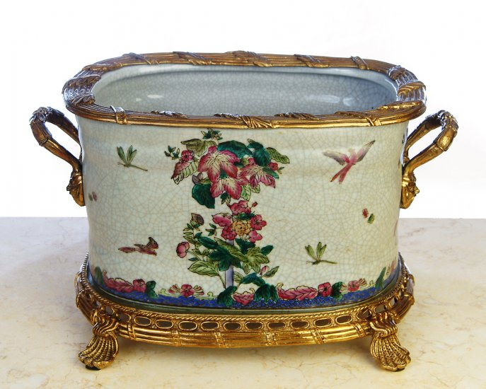 HUGE HAND PAINTED FLORAL PORCELAIN POT WITH BRASS