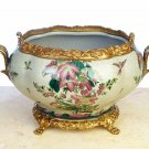 PORCELAIN HAND PAINTED BOWL/FLOWER POT WITH SOLID BRASS
