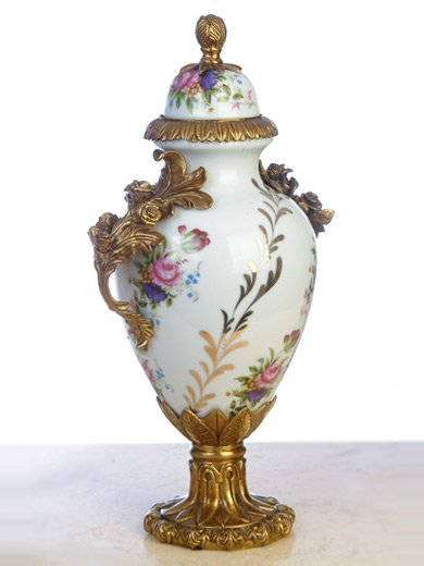 PORCELAIN HAND PAINTED URN WITH ANTIQUE ROSE SHAPED BRASS-BRONZE