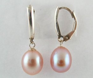 Genuine Freshwater 7-8MM Long Shape Pink Pearl Lever Back Silver Earring