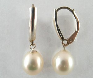 Genuine Freshwater 7-8MM White Pearl Lever-Back Silver Hanging Earring