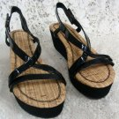 Avon Womens Ladies Strappy Wedge Black Sandals Size 8
