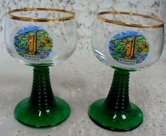 Mauseturm Bingen Collectible Gold Rim Glass Glasses (2)