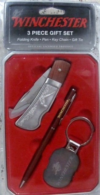 Winchester 3/piece Gift set Folding Knife Pen Key Chain in decorative tin