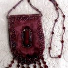 Red Maroon Beaded Crafted Necklace Medicine Pouch Bag