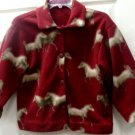 Horse Fleece Maroon Womens Ladies Jacket Size Large