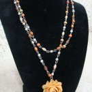 Yellow Floral Pendant Beaded Necklace Vintage