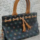 Dooney & Bourke Black Muti-Color Tassel Signature Tote Handbag Purse