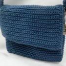 Sak Handmade Crochet Blue Sak Shoulder Handbag Purse
