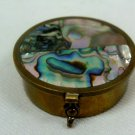 Abalone Shell Brass Vintage Pill Box