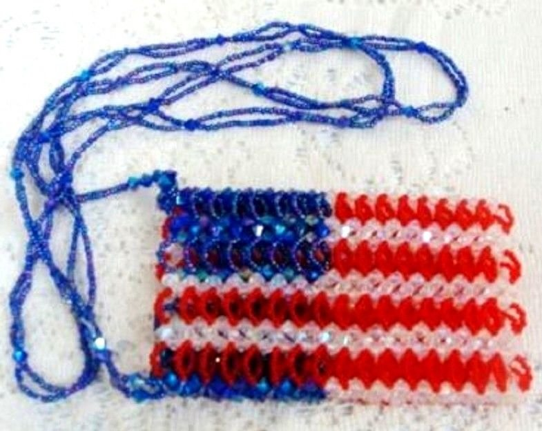 American Flag 4th Fourth of July Beaded Craft Purse - (L@@K!)
