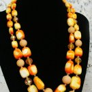 Yellow Beaded Necklace & Earrings Vintage - (NICE!)