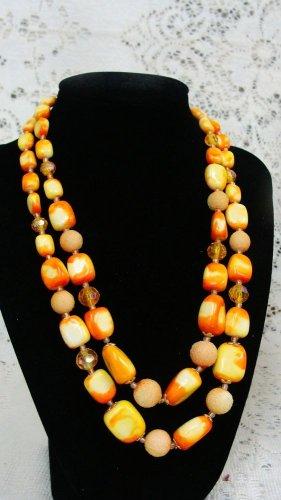 Yellow Beaded Necklace & Earrings Vintage - (NICE!)