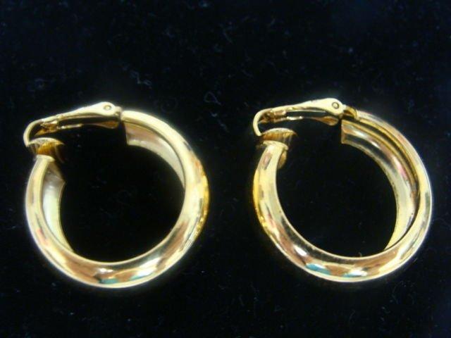 Trifari Goldtone Hoop Clip Earrings - (vintage)