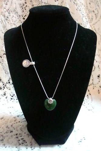 Avon Sterling Necklace with Jade Heart Stone - (NICE!)