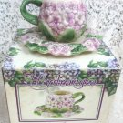 Hydrangea Floral Lavender  Cup and Saucer