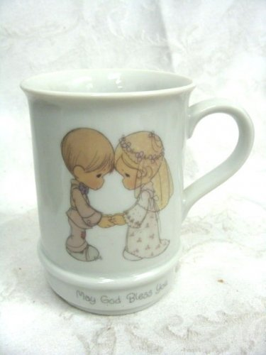 PRECIOUS MOMENTS MUSICAL CERAMIC CUP MAY GOD BLESS YOU