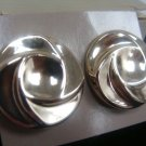 Avon Opulent Swirl Silvertone Clip Earrings - (vintage)