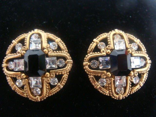 Black Goldtonel Rhinestone Clip Earrings - (vintage)