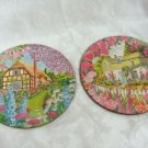 Floral Pretty Cork-back Hot Mats Set of (2)