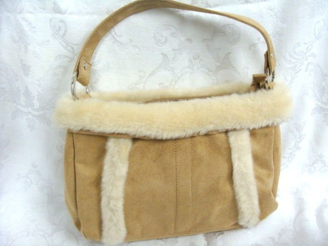 Biege Suede Hand Bag Purse - (NICE!)