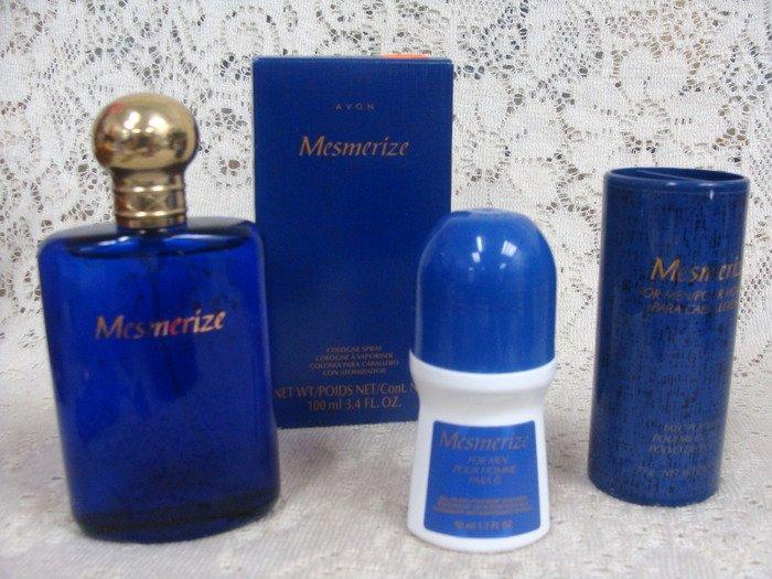 Avon Mens Mesmerize Cologne SprayPowder Talc & Roll-On Deodorant Set