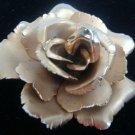 GLOVAANNI GOLDTONE GOLDTONE FLORAL ROSE PIN BROOCH