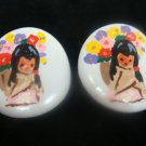 Hand Painted Southwest White Pierced Earrings