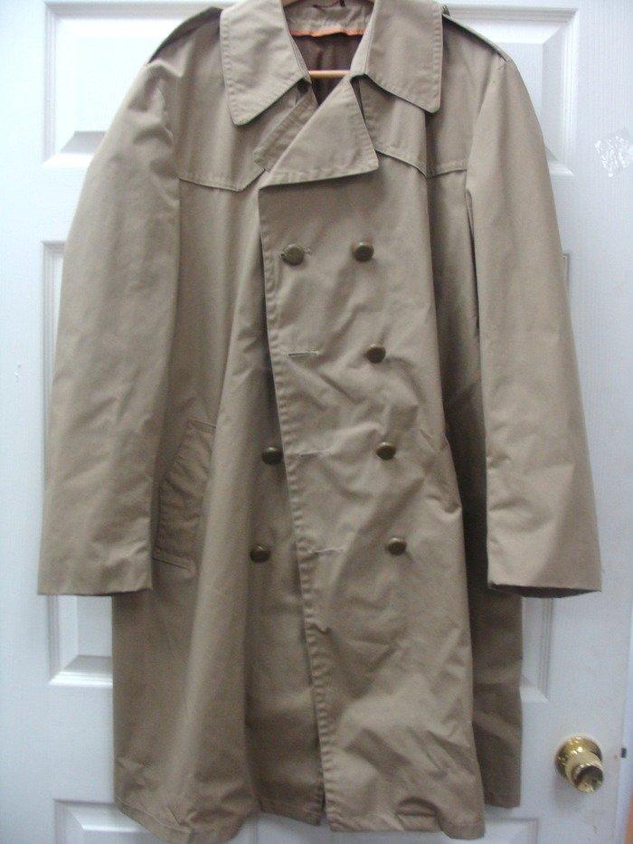 Sears Mens Weatherproof Beige  Trench Coat Jacket Size 44