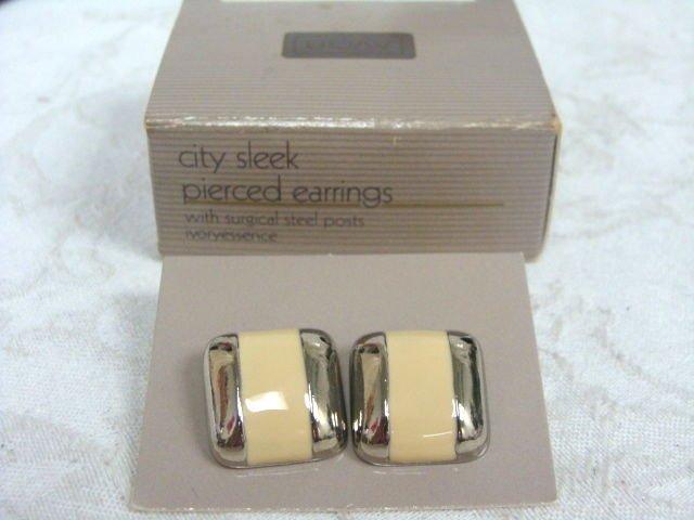 Avon City Sleek Silver Tone Pierced Earrings - (vintage)