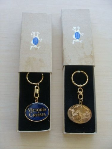 2 VICTORIA CRUISES BRASS KEY RING CHAINS YANGTZE RIVER