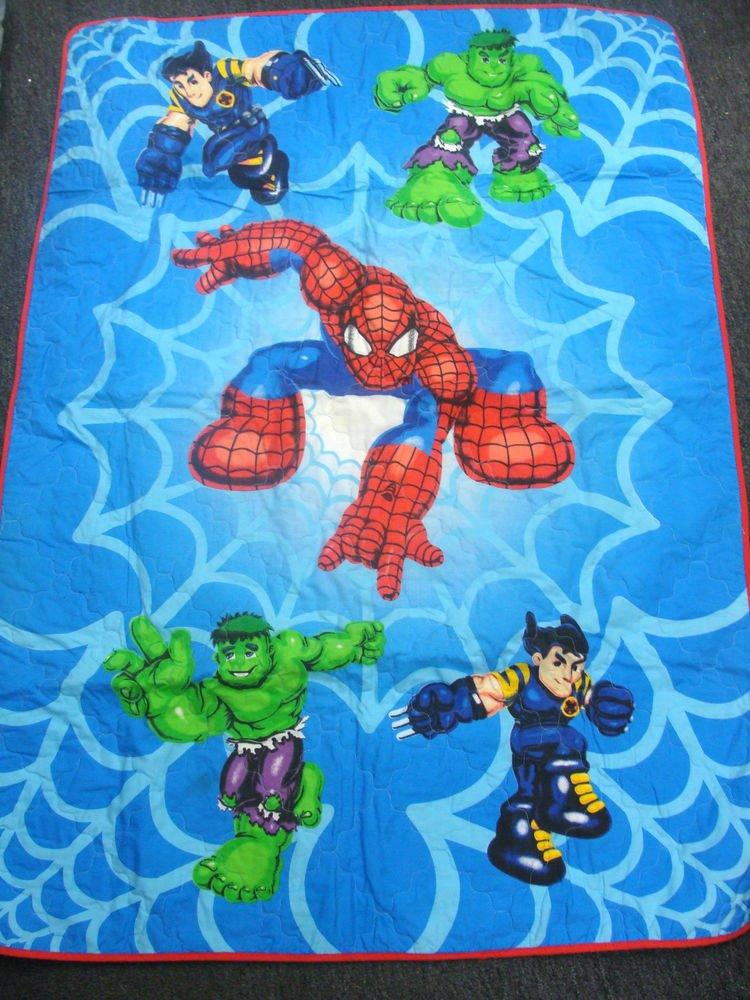 Spiderman, Big Hulk, Wolverine Quilt Blanket