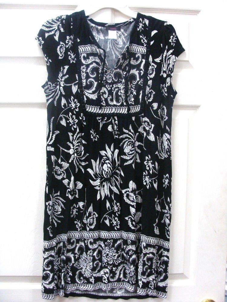 Mark Womens Ladies Black Print Dress Size Medium