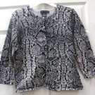 Cable & Gauge Womens Ladies Black & Grey Print Top Size Large