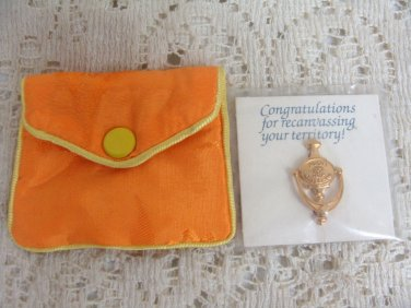 Avon Door Knocking Pin Brooch Award w/ Pouch