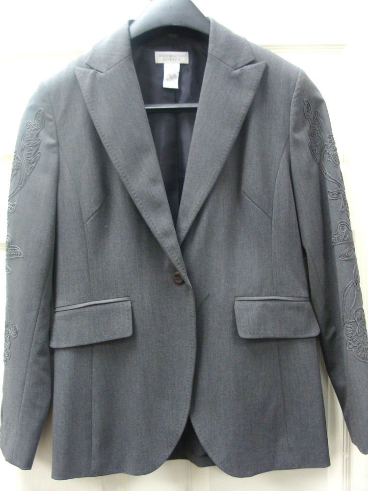 Worthington Womens Ladies Grey Jacket & Pant Grey Suit Size 8