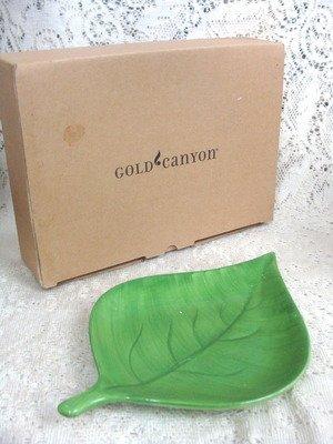 Gold Canyon Green Ceramic  Leaf Candle Holder