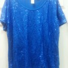 Avon Womens Ladies Blue Sequin Top Shirt Size 2x