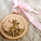 Avon Bless This Child Angel Medallion Girl Pink