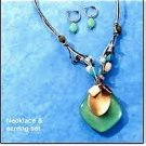Avon Decorative Seafoam Green Pendant Earrings Gift Set