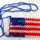 Handmade American Flag Red, White, & Blue 4th Fourth of July Beaded Craft Purse