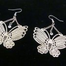 Silvertone Metal Butterfy w/ Rhinestone Pierced Earrings Vintage