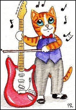 ACEO Original Watercolor - Guitar Cat