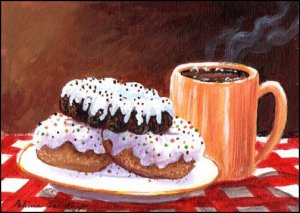 Original Acrylic - Coffee and Donuts by Patricia Ann Rizzo